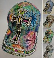 Lace Floral/Printed Hat with Bling [Cross]